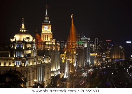 Sjanghai · nacht · China · vlaggen · auto · straat - stockfoto © billperry