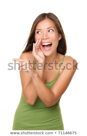 bela · mulher · risonho · indicação · alguém · menina · mulheres - foto stock © dacasdo