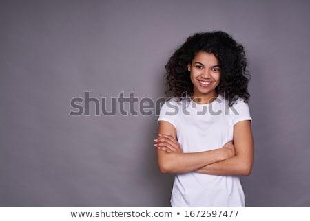 peinzend · jonge · vrouw · witte · shirt · geïsoleerd - stockfoto © pablocalvog