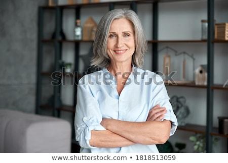 Belo elegante empresária isolado branco escritório Foto stock © Len44ik