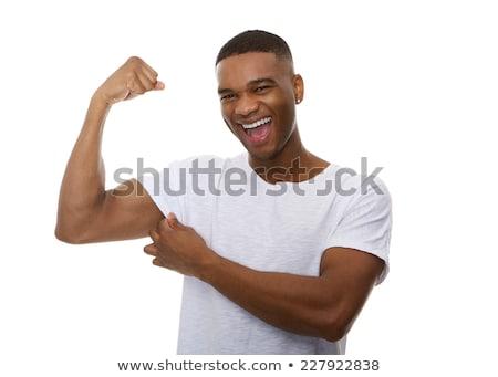 Közelkép fiatalember izmok fekete kéz sport Stock fotó © wavebreak_media