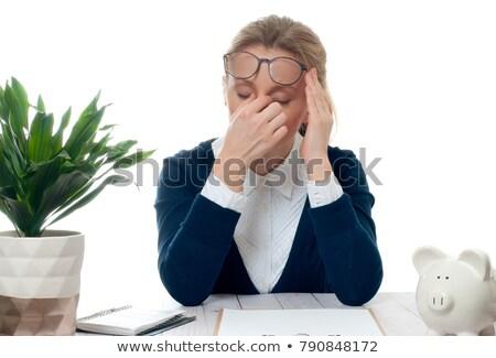 Zaklatott üzletasszony persely iroda ül asztal Stock fotó © wavebreak_media