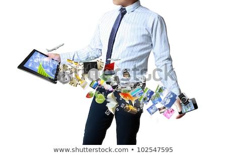 Touch таблетка деловой человек рук серый бизнеса Сток-фото © matteobragaglio