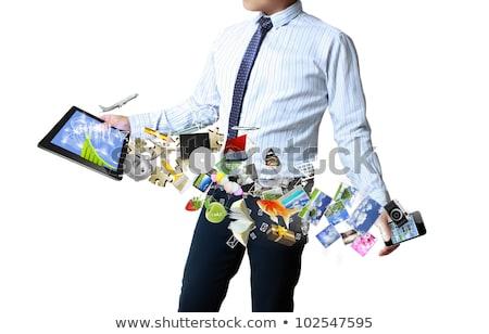 touch · tablet · zakenman · handen · grijs · business - stockfoto © matteobragaglio
