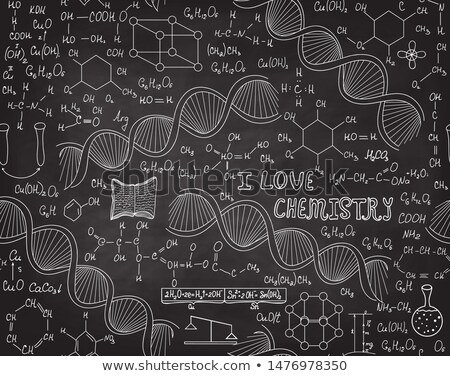 Stock photo:  structure of DNA on a blackboard