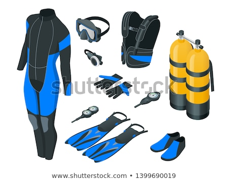 male diver with diving suit snorkel mask fins on the beach Stock photo © juniart