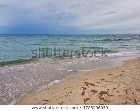 Preto mar costa rochas nublado céu Foto stock © grechka333