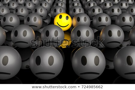 Smiley Face Person Standing Out in Crowd Stock photo © iqoncept