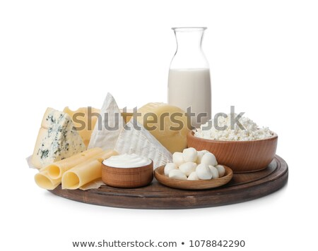a white plate of various cheeses Stock photo © joker