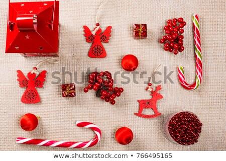 vidám · karácsony · üdvözlőlap · szív · angyal · csillagos - stock fotó © marimorena
