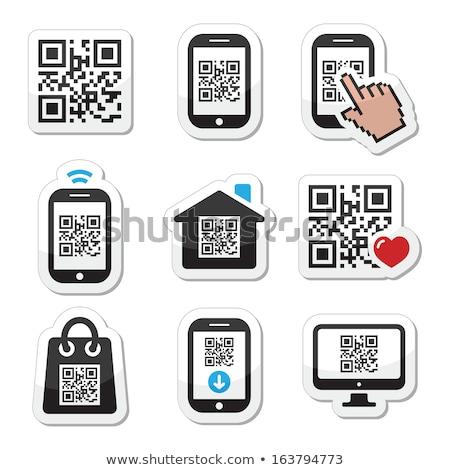 Qr code smartphone icon Blauw pijl grijs Stockfoto © tashatuvango