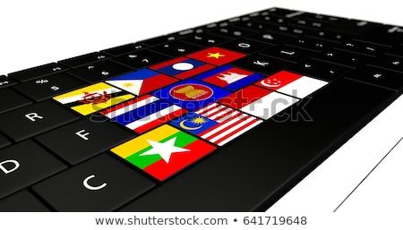 Cambodja vlag knop zwarte toetsenbord Stockfoto © tashatuvango