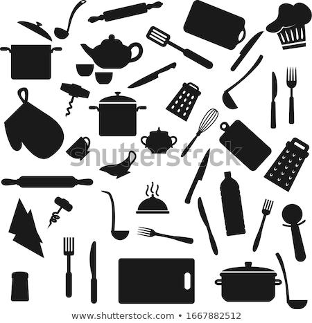 実例 · シルエット · キッチン · 孤立した · 白 - ストックフォト © loopall