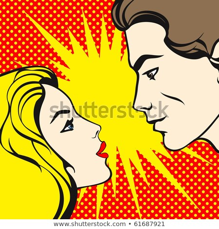 Man and woman love couple  in popart comic style Stock photo © balasoiu
