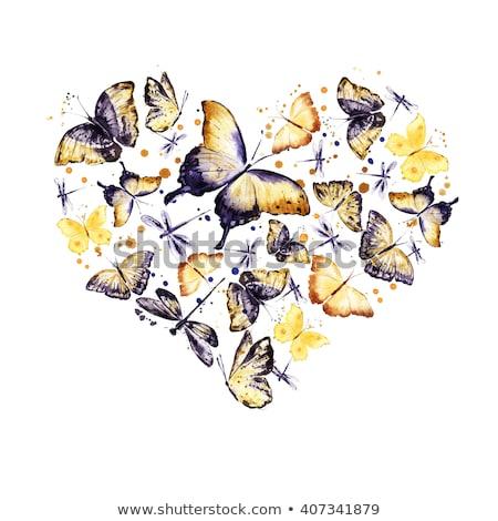 kalpler · çerçeve · el · boyalı · su · renk - stok fotoğraf © m_pavlov