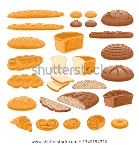 bread loafs and buns variety isolated on white background stock photo © natika