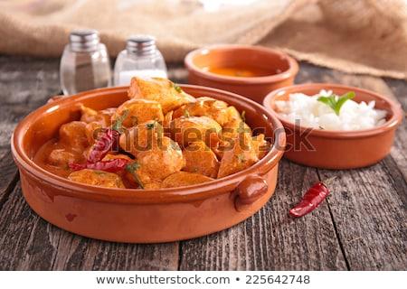 Tavuk pişmiş köri gıda yemek Hindistan Stok fotoğraf © M-studio