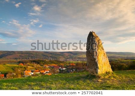 Menhir on the hill at sunset in Morinka village Stock photo © CaptureLight