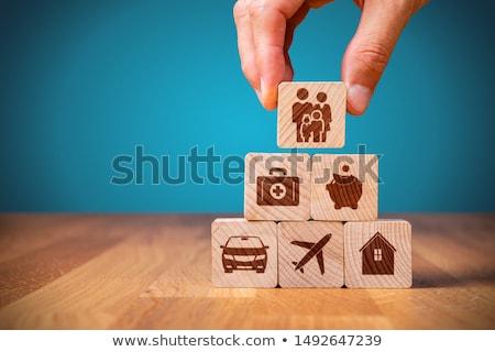 Biztosítás kék üzlet otthon egészség háttér Stock fotó © fantazista