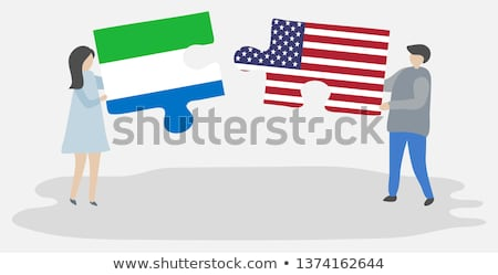 usa and sierra leone flags in puzzle stock photo © istanbul2009