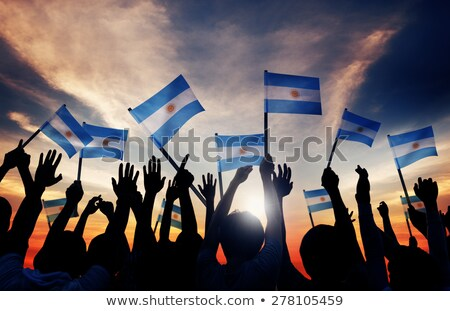 Personnes pavillon Argentine isolé blanche foule Photo stock © MikhailMishchenko