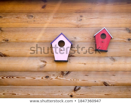 Typical pink bird house on a wooden roof Stock photo © pixachi