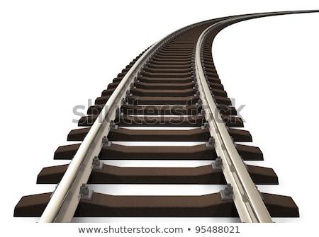Demiryolu yalıtılmış beyaz üst görmek 3d illustration Stok fotoğraf © ZARost