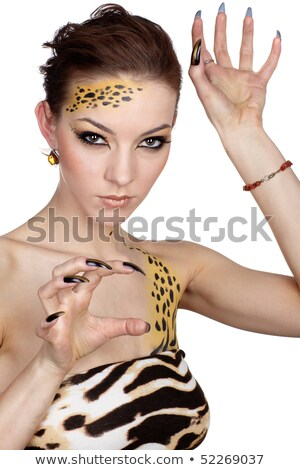 girll in cat make-up and bodyart Stock photo © fanfo