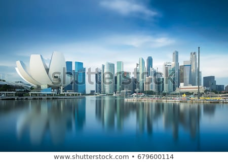 Szingapúr sziluett panorámakép kép napfelkelte néhány Stock fotó © fazon1