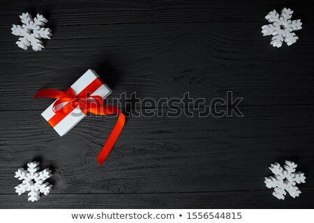 Cristmas decoration on the wooden background, present and snowfl Stock photo © tycoon