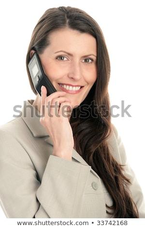 Mujer de negocios teléfono celular cara teléfono vidrio Foto stock © Paha_L