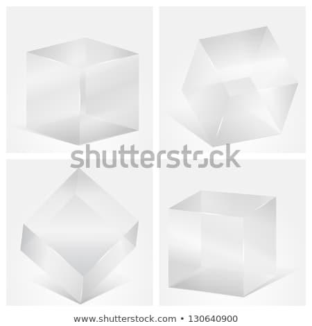 Dört şeffaf gri cam vektör Stok fotoğraf © rommeo79