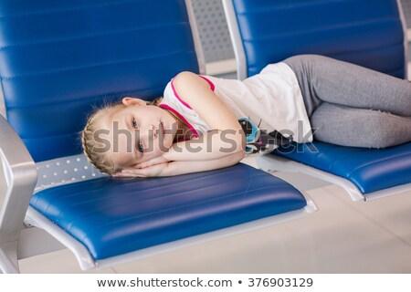 Tired Gilr Waiting For Flight Inside Airport Foto d'archivio © Len44ik