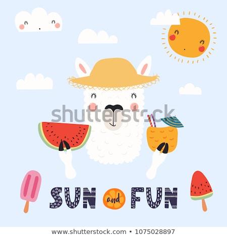 Nina sombrero de paja verano tarjeta veraniego sombrero Foto stock © marimorena