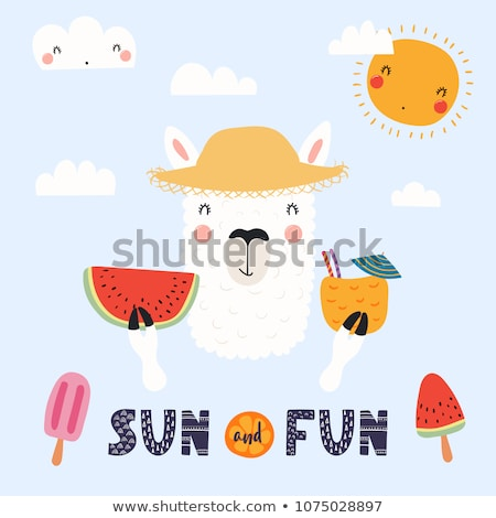 Girl straw hat summer card Stock photo © marimorena