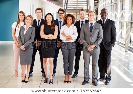 Csoport többnemzetiségű üzletemberek munka lépcsősor iroda Stock fotó © zurijeta