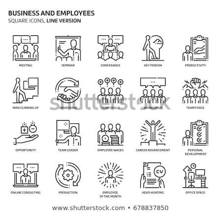 businessman with a speech square line icon stock photo © rastudio