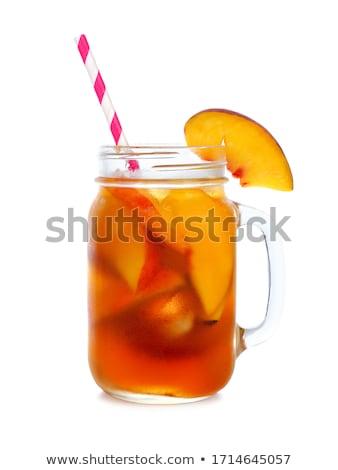 bögre · őszibarackok · gyümölcs · üveg · desszert · hozzávaló - stock fotó © hansgeel