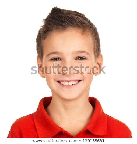 少年 · 笑みを浮かべて · 座って · 孤立した · 白 - ストックフォト © DedMorozz