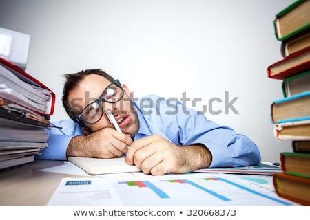 Stréber üzletasszony szemüveg számítógép nő iroda Stock fotó © alphaspirit