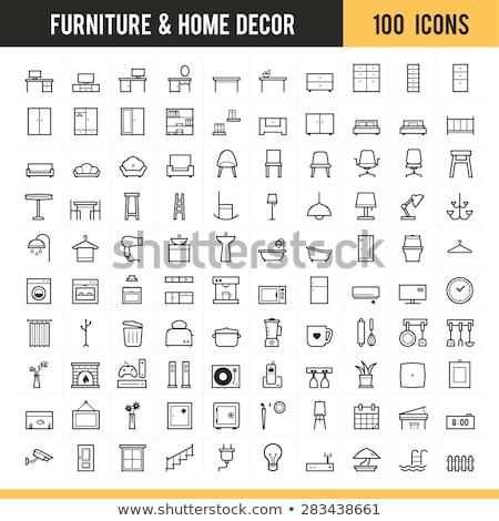 Házbelső bútor vonal ikon sarkok háló Stock fotó © RAStudio