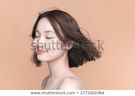 Belo mulher jovem estância termal salão palha Foto stock © master1305