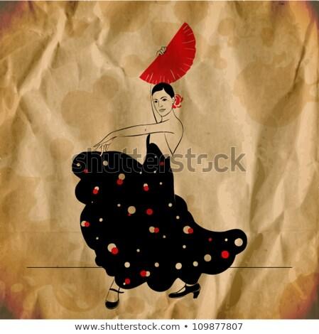 Flamenco música festa cartão papel guitarra Foto stock © carodi