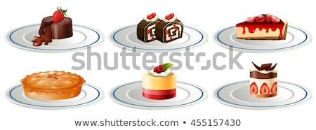 Different kinds of desserts on plates Stock photo © bluering