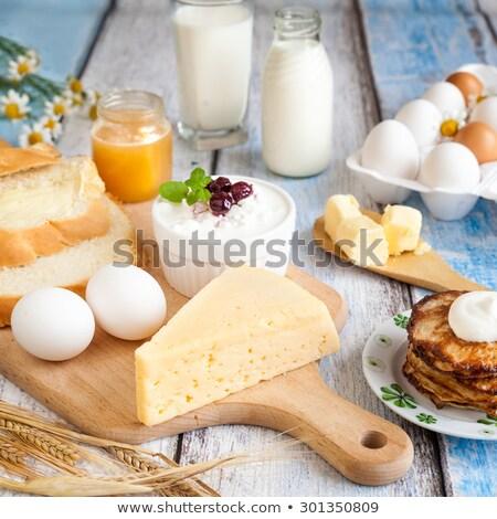 Pannenkoeken ingrediënten ontbijt dessert Stockfoto © Digifoodstock