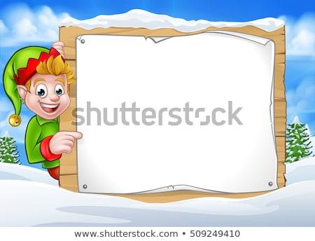 Noël elf signe hiver Photo stock © Krisdog