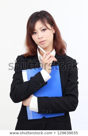 business woman holding document binders stock photo © stevanovicigor