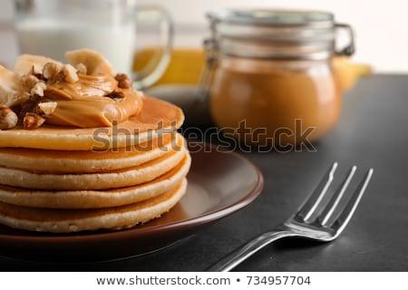Manteiga de amendoim panquecas foco café da manhã almoço doce Foto stock © zoryanchik