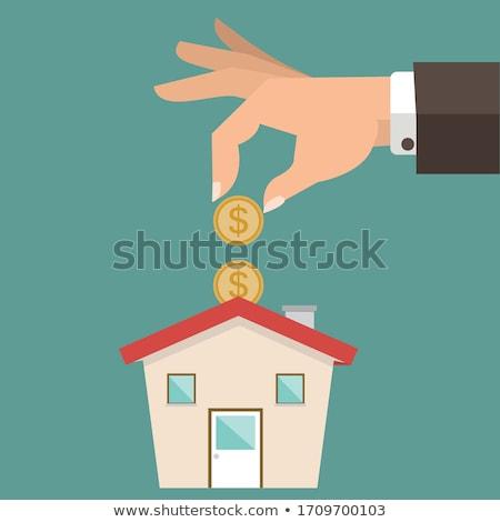 kadın · para · kumbara · satın · alma · ev · genç - stok fotoğraf © rastudio
