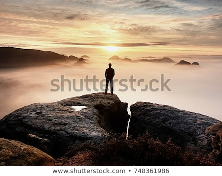 silhouette of a man on a cliff stock photo © all32